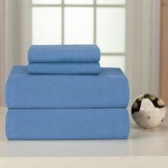 Solid or Print Cotton Heavyweight Flannel Deep Pocket Sheet Set  Blue full