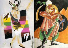 """De gauche: Anat. Pétritzky. La conception de costumes Medora pour le ballet """"Le Corsaire"""" 1926 A droite: Leonid Popov. Le costume féminin pour le jeu """"Priest Tarquin '1922"""