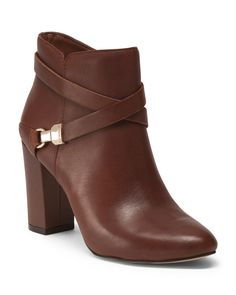 ANNE KLEIN Wrap Detail Leather Booties $59.99
