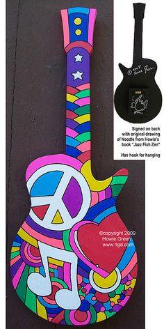 Pop Art Peace Love Music guitar sculpture by Howie Green, via Flickr