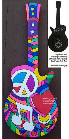 Pop Art Peace Love Music guitar sculpture by Howie Green, via Flickr
