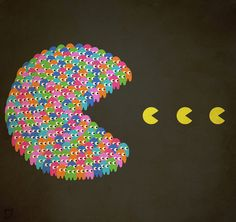Pac-Man Art Print by Gazonula