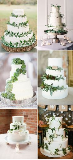 Nature Green and White Wedding Cakes for Boho Weddings
