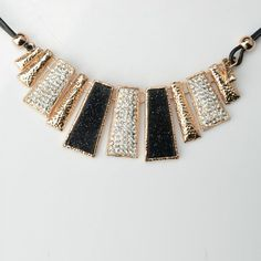 Beautiful Alloy #Geometry #Trapezoid Shape Sweater Chain #Rhinestone #Necklace Golden and Black