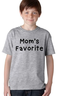 There won't be any arguing about who is mom's favorite when you pop this shirt on one of your kids. It's ok to play favorites once in a while, so surprise one of your babies in this funny mom's favorite shirt! #mom #kids #funny #tshirt