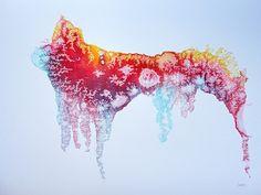SURFING EMPEROR. Oil dispersion / sulfite paper  72 x 95 cm
