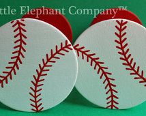 Baseball Curtain Holdbacks with Red Backs