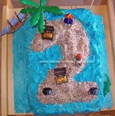 Homemade Pirate Treasure Island Birthday Cake: My son had a Pirate fancy dress party for his 2nd birthday. I had already made him a ship on his actual birthday. So wanted something different, that would