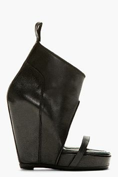 Wicked sexy RICK OWENS Black Leather Covered Wedge Heels