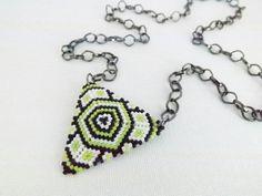 Peyote Triangle Pendant Necklace Chartreuse by MadeByKatarina, $23.00