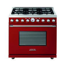 Range DECO 36'' Classic Red matte, Chrome Trim, 6 gas burners, extra-large gas oven equipped with 4 convection fans and broiler. Also available in Dual Fuel option with self-cleaning capabilities.