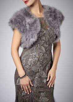 Feather Shrug - FK042 Grey, Mascara Eveningwear, Prom dresses, Prom Dress, Evening wear