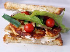 Grilled Eggplant, Haloumi and Arugula Sandwich with Yogurt Tahini Sauce