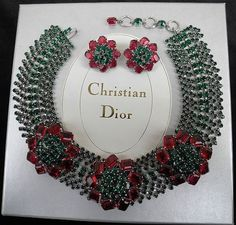 RAREST Bookpiece 1960 Christian Dior Floral Necklace Earrings Runway | eBay