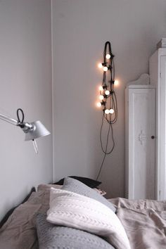 festoon lighting in a minimal bedroom Home Decor Bedroom, Home And Living, Decor, Interior Design, Beautiful Bedrooms, Home, Bedroom Inspirations, Home Bedroom, Home Decor