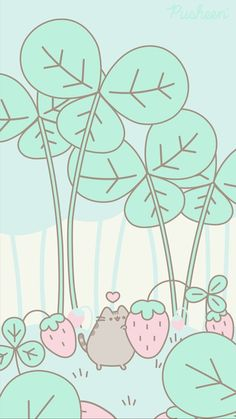 Girly Wallpaper, Iphone Wallpaper Cat, Spring Wallpaper, Kawaii Wallpaper, Cute Animal Drawings Kawaii, Cute Drawings, Wallpapers Kawaii, Pusheen Love, Chat Kawaii