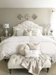 Romantic elegant  French country bedroom. Shabby chic white bedroom