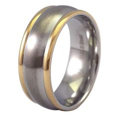 Gold Tone Edge Stainless Steel Ring Wedding Band is made from hypoallergenic 316L surgical stainless steel and is guaranteed not to cause an allergic reaction (turn your skin green) some individuals experience with silver or base metal jewelry. It will not bend or break and it will not lose the perfect circle under normal wear like traditional gold and silver bands. 8mm wide with a comfort fit inner band, available in size 5, 6, 6.5, 7.5, 9.5, 11, 12, 13, 14, 15, 16, 17. Free shipping!