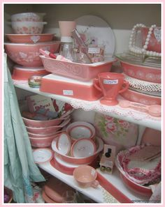 thrift store selection of pink pyrex