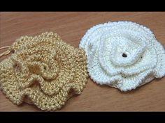 Вязание Цветов  Урок 16 часть 1 Вязание крючком объемного Цветка с лепестками в виде рюша