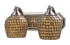 Elk Lighting 570-2N-A Vanity Light in Satin Nickel Glass Type: Gold Mosaic by ELK Lighting. $138.00. 570-2N-GLD Glass Type: Gold Mosaic Features: -Two light bath vanity.-Available in several glass shades. Color/Finish: -Satin nickel finish. Specifications: -Accommodates (2) 60W Medium base bulb. Dimensions: -Overall dimensions: 7'' H x 14'' W x 8'' D.