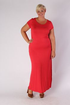 Plus Size Clothing for Women - Side Slit Maxi Dress - Coral (Sizes 14 - 20) - Society+ - Society Plus - Buy Online Now!
