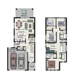 These are some of the small house design floor plans with Three and Four Bedrooms and Two baths (Duplex small house design floor plans with 3 and 4 Bedrooms). All houses are small and some of them available for construction in narrow areas. These houses a Two Storey House Plans, Narrow House Plans, Town House Floor Plan, Dream House Plans, Narrow House Designs, Small House Design, Four Bedroom House Plans, House Plans Australia, Duplex Floor Plans