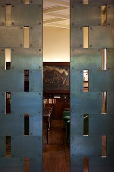 } ++ Lattice Portion combined with blind flaps for privacy :) Cool Doors, Unique Doors, Architecture Details, Interior Architecture, Villa Necchi, St Moritz, Door Detail, Door Gate, Sliding Doors