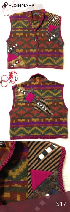 Vintage CanvasBacks Lutton & Horsfield vest size M CanvasBacks vest is wearable art in the form of a vest. The body of vest has Aztec print in earth tones with patchwork detailing on the front and back of garment. Some of the patchwork is photographing pink due to my camera. The true color is a dark pink / maroon shade.depending on the light. There is a 3 button front closure. Made from 100% wool except for patchwork. Underarm to underarm 20 inches. Shoulder to bottom of vest 19 inches…