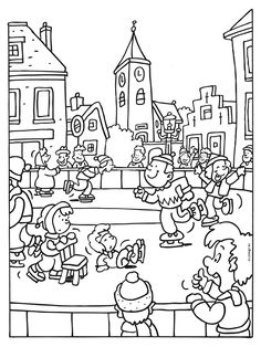 schaatsen Colouring Pages, Adult Coloring Pages, Coloring Sheets, Coloring Books, Print Pictures, Colorful Pictures, Winter Project, Hidden Pictures, Art Clipart