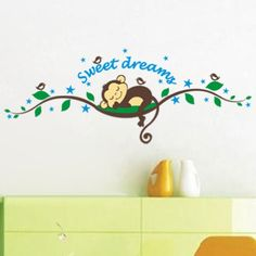 Sweet Dreams Monkeys and Tree Birds Giant Wall Sticker Decals ,Super for Boys and Girls Nursery Room Home Decor Decal Children's Room redcolourful http://www.amazon.com/dp/B00L44XDLE/ref=cm_sw_r_pi_dp_jA.Xtb05QNW338HC