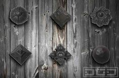 Rustic iron clavos, rosettes & decorative dummy hardware for custom garage doors and garden gates. Get pricing at (855) 343-3667 by DynamicGarageDoors