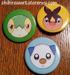 Gen 5 Starters Pinback Button Set by ChibiRoseArt.deviantart.com on @DeviantArt  On sale in my storenvy shop! Link is in my bio~