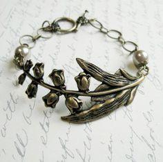 Lily of the valley bracelet brass