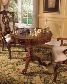 For chess, sipping sniffers of brandy & sexy, intellectual sparing with the Scottish gentlemen of my choice. /// Victorian Chess Game Table ChessBaron.co.uk