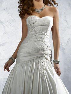 Trumpet Sweetheart Long Satin Wedding Dress on David's Love