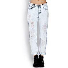 Forever 21 Women's  High-Waisted - Bleached Boyfriend Jeans ($23) ❤ liked on Polyvore featuring jeans, destroyed jeans, high rise jeans, high rise boyfriend jeans, ripped boyfriend jeans and high waisted distressed boyfriend jeans