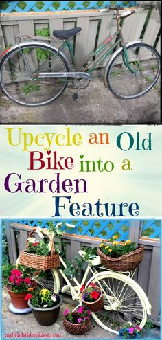 Create a whimsical garden conversation piece in your backyard this year. Take a vintage bike, spray paint it, use zip ties to attach baskets and turn it into a bright, fun bicycle planter. Vintage Bike Decor, Bicycle Decor, Vintage Baskets, Bicycle Art, Bicycle Design, Vintage Bicycles, Diy Planters, Garden Planters, Flower Planters