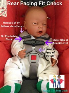 Is your rear facing child's seat adjusted correctly?   Please note that these guidelines apply to all rear facing car seats, whether the seat is used by an infant or a big kid.