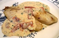 Creamy Alfredo Sauce with Roasted Peppers ~ Low Carb - 2.5g Net Carbs per serving -  (pictured over fish