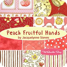 "Peach Fruitful Hands Fat Quarter Bundle Jacquelynne Steves for Henry Glass Fabrics    love this-though it seems I am always attracted to ""food"" related items!"