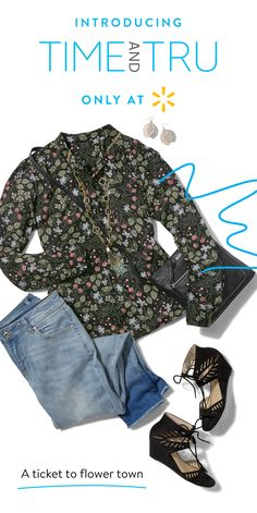 For the gal who's going places, dress the part with Time and Tru Women's apparel. Start with a Floral Button Down Soft Shirt, add some edge with Faded Jeans, Cutout Wedges, and a Black Crossbody Purse. There are endless ways to pull an outfit together. All our clothing styles and colors work together so you don't have to put a lot of effort into looking good. From on-trend fashions with cool details to quality wardrobe classics and accessories, find your perfect looks at Walmart.