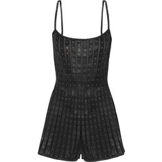 Valentino Swarovski crystal-embellished leather and tulle playsuit (45.505.190 IDR) ❤ liked on Polyvore featuring jumpsuits, rompers, sheer romper, playsuit romper, leather rompers, leather romper and backless romper