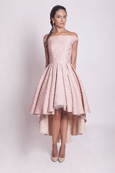1950s style high low pink flowers pleated by ElaSiromascenko