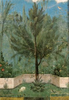 Mural from Villa Livia, from Rome.Livia supplied laurel wreaths to Rome Ancient Rome, Ancient Art, Rome Antique, Pompeii And Herculaneum, Art Ancien, Roman History, Roman Art, Natural Scenery, Tempera