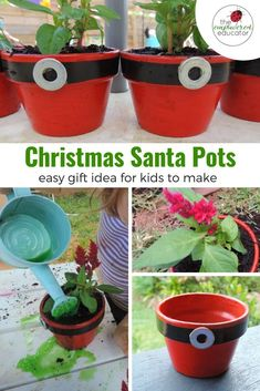 Easy Christmas Gift for Children to paint, plant and give - Christmas santa pots - eco friendly gift ideas that kids can make at Christmas. A great gardening idea for kids. Christmas Gifts For Parents, Holiday Crafts For Kids, Simple Christmas, Christmas Crafts, Christmas Ideas, Christmas Stuff, Halloween Crafts, Preschool Christmas Activities, Craft Activities For Kids