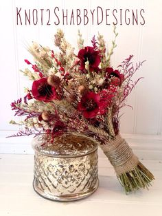 Wildflower bouquet Wedding Dried Bridal by Knot2ShabbyDesigns