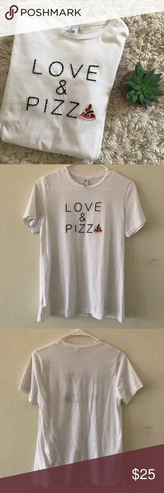 """American Apparel • Embroidered Pizza Graphic Tee • American Apparel • Embroidered """"Love and Pizza"""" tee • White • Black embroidery • Size large • Great condition  🌸 No trades. 15% off when you bundle at least two items from my closet. 🌸 American Apparel Tops Tees - Short Sleeve"""
