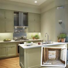 finished kitchen with double-height cabinets and simple profiles with inset of kitchen before remodel