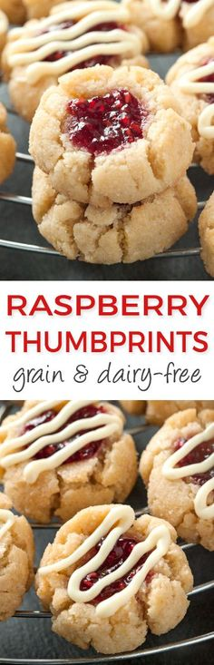 Soft and Chewy Raspberry Thumbprint Cookies – Great with almond or lemon extracts! grain-free, gluten-free, dairy-free (use coconut sugar instead) (soft sugar cookies vegan) Gluten Free Deserts, Gluten Free Sweets, Paleo Sweets, Foods With Gluten, Paleo Dessert, Gluten Free Baking, Dairy Free Recipes, Dessert Recipes, Desserts Menu